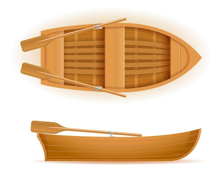 精细的小木船示意图免抠矢量图片素材