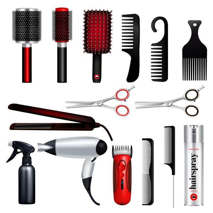 各种圆筒梳按摩梳美发梳剪刀电吹风卷发器等美发工具图片免抠素材