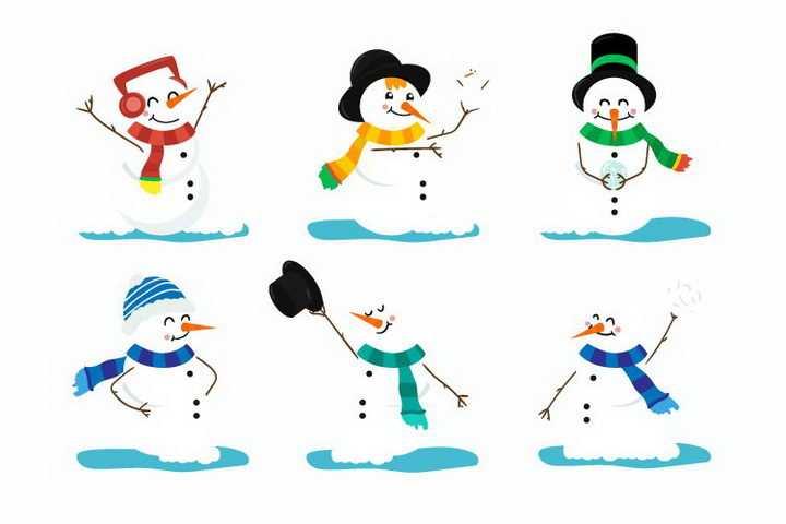 6款可爱的卡通雪人冬天配图免抠图片素材