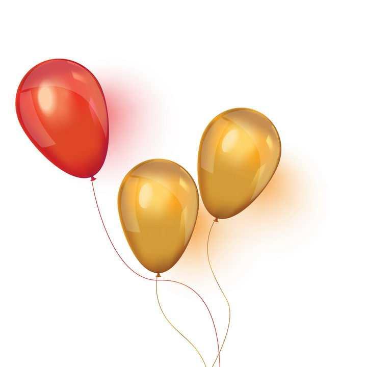 3个红色和橙色气球图片免抠素材