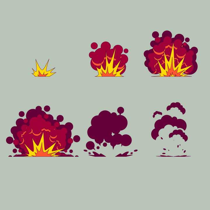 暗红色的漫画爆炸过程效果图片免抠素材