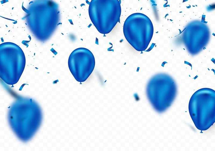 蓝色气球彩带装饰图片免抠素材