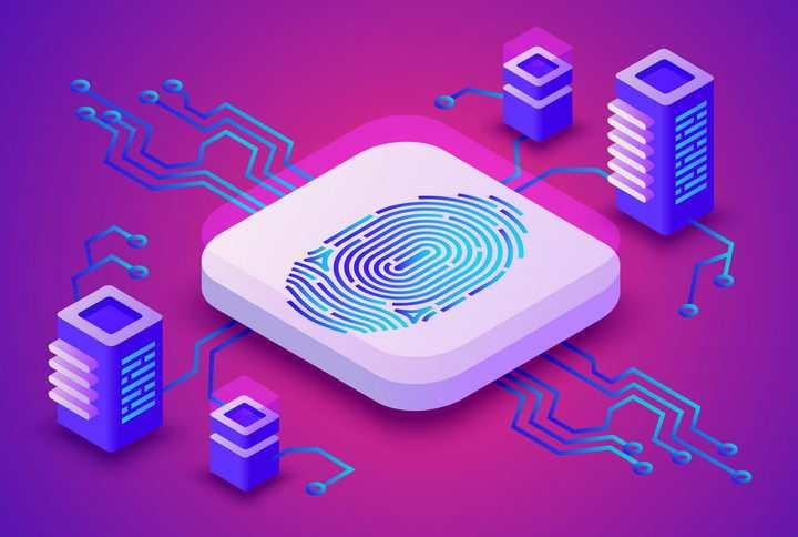 适合各大IT企业的指纹识别指纹解锁工作原理示意图配图免抠矢量图片素材