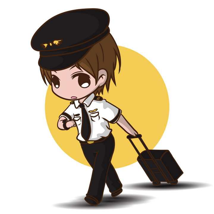 可爱卡通拉着行李的空乘人员机长免抠图片素材