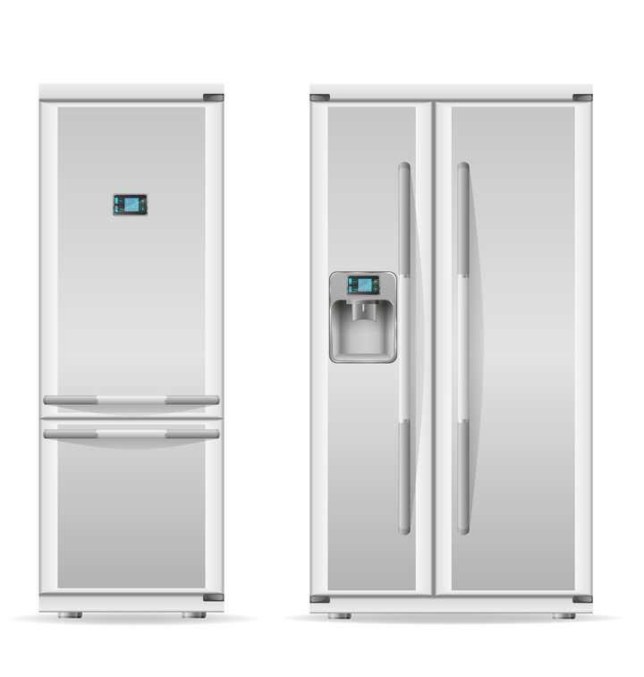 两种不同风格的电冰箱正面图家电免抠矢量图片素材