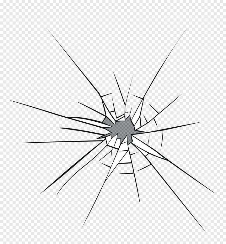 黑色线条风格破碎玻璃破裂效果图片免抠素材