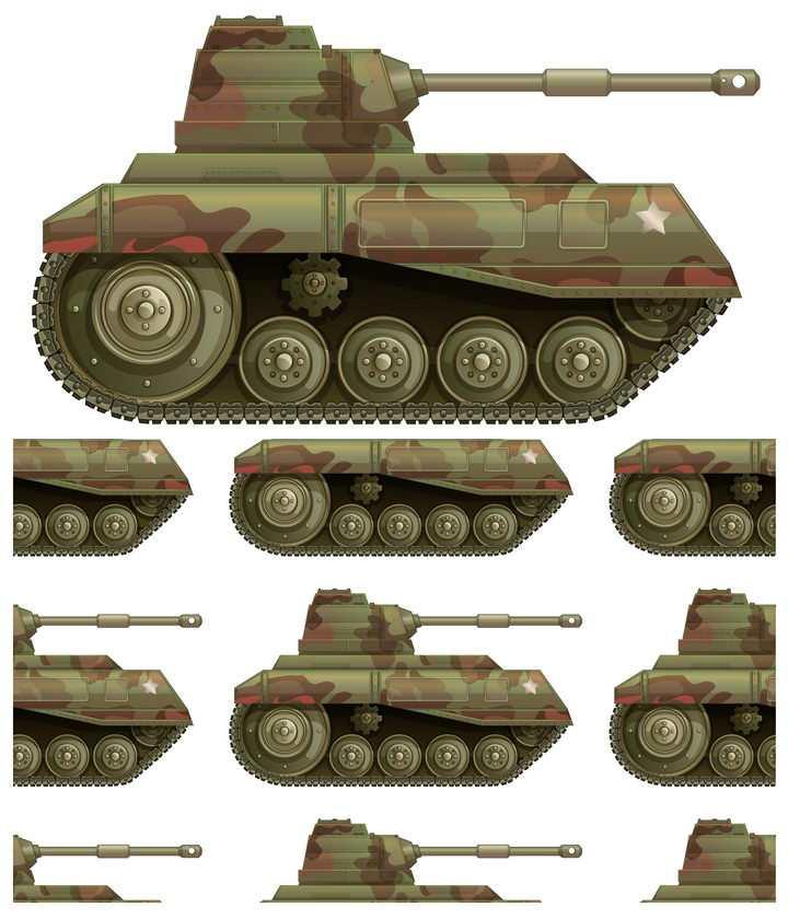 迷彩涂装的二战时期的坦克图片免抠素材