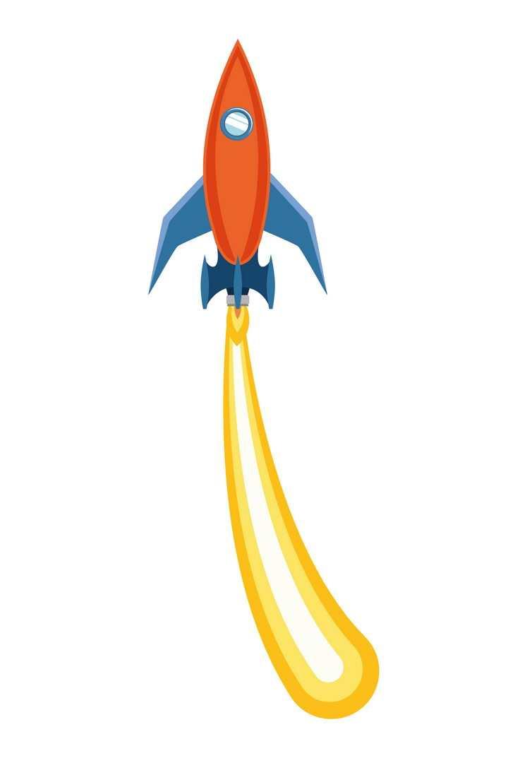 拖着尾迹的红色卡通小火箭免抠矢量图片素材