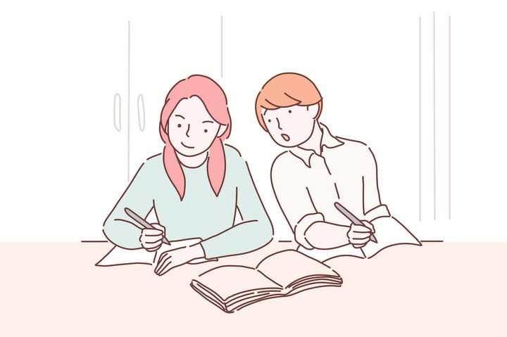 正在抄同学作业的学生手绘插画图片免抠素材
