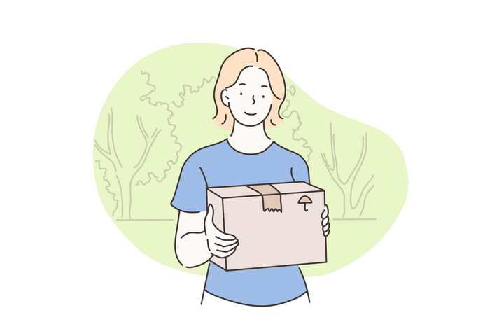 手绘彩色上色线条漫画风格收到快递箱的年轻人图片免抠素材