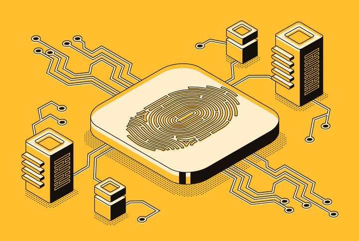 立体插画风格服务器指纹解锁指纹识别技术免抠矢量图片素材
