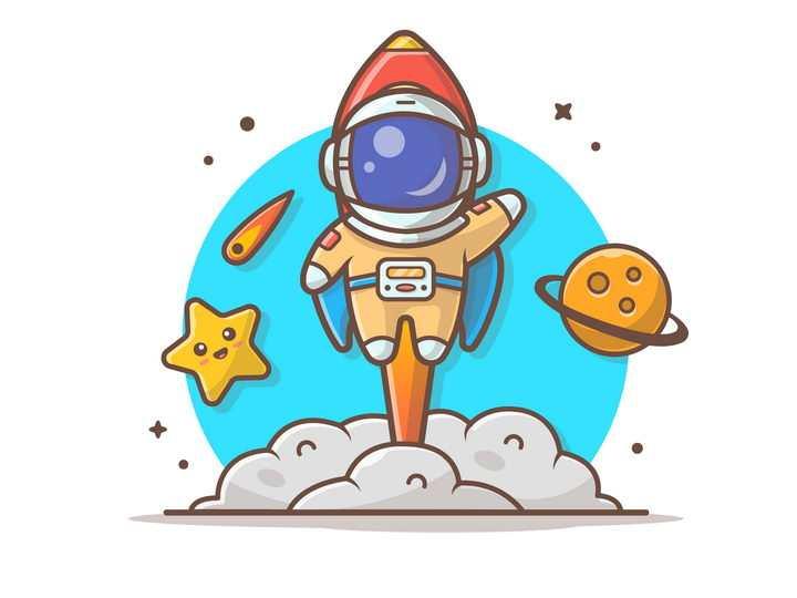 可爱卡通背着小火箭飞行的宇航员宇宙太空探索图片免抠素材