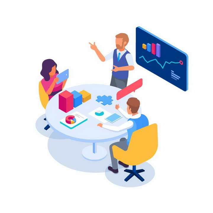 2.5D立体扁平插画风格正在统计数据和开会的商务人士免抠图片素材