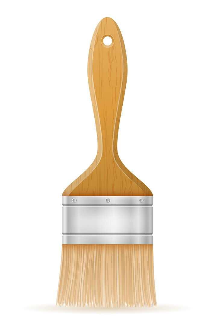 常见的木头柄的毛刷油漆刷刷子免抠矢量图片素材