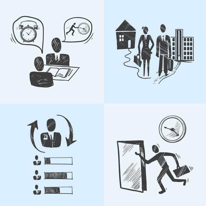 四款商务主题时间管理黑色配图插画插图免抠矢量图片素材