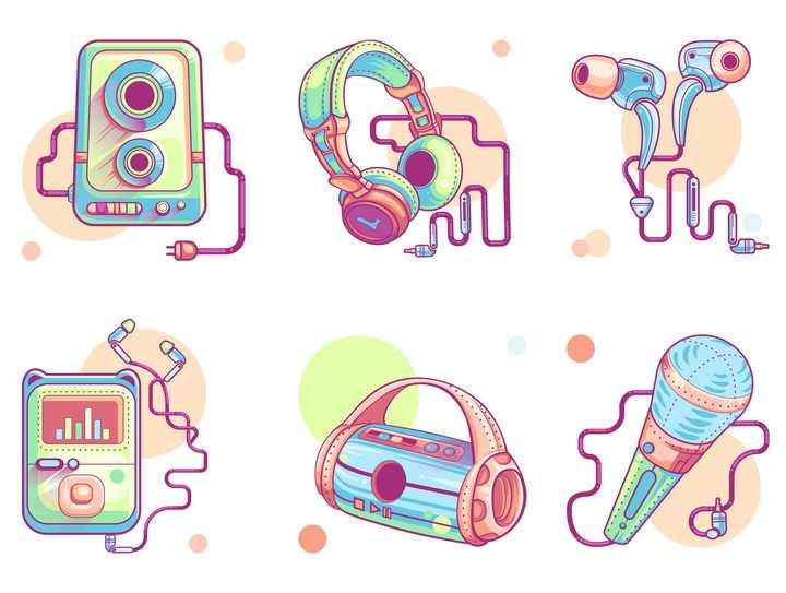 6款手绘漫画风格的随身听音乐播放器耳机等音乐用品图片免抠素材