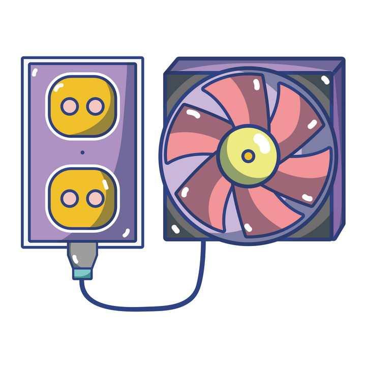 插画风格的散热器风扇免抠矢量图片素材