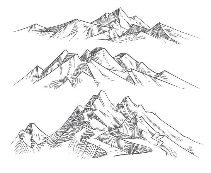 手绘线条插画简笔画风格山脉大山高山山峰图片免抠素材