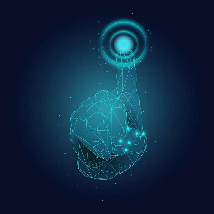 蓝色发光线条多边形组成的指纹解锁指纹识别技术免抠矢量图片素材