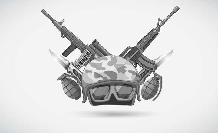 灰色风格头盔和后面交叉的步枪手榴弹图片免抠素材