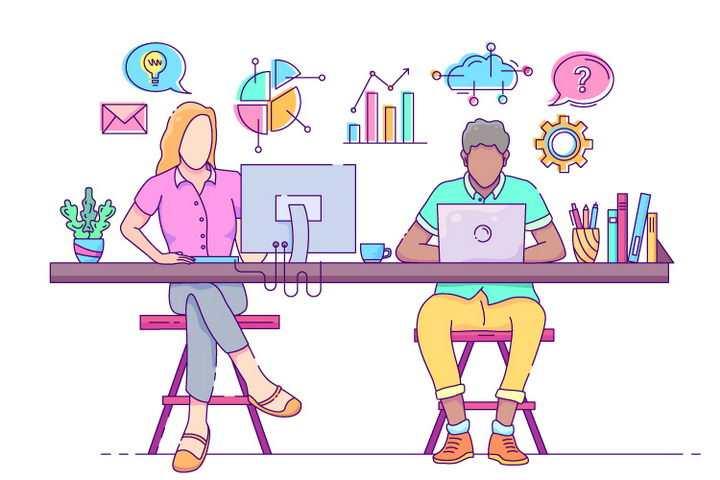 手绘插画风格正在办公室男女职场配图图片免抠素材