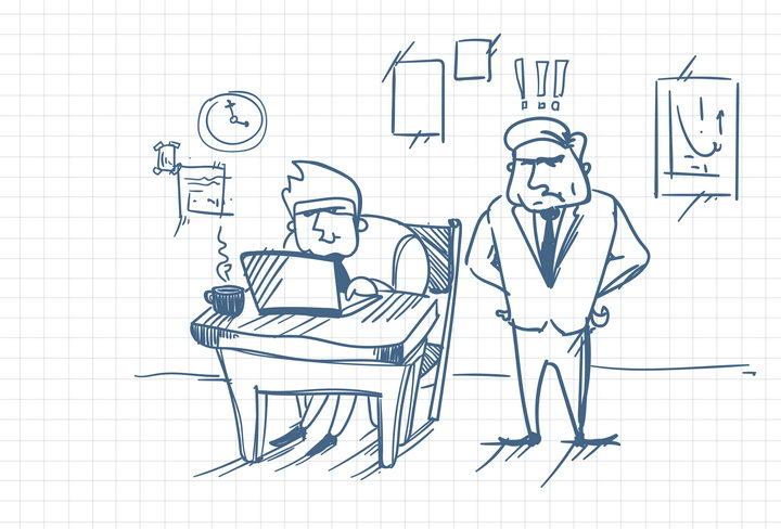 手绘漫画插画风格被老板监督的员工办公室文化免抠矢量图片素材 商务职场-第1张