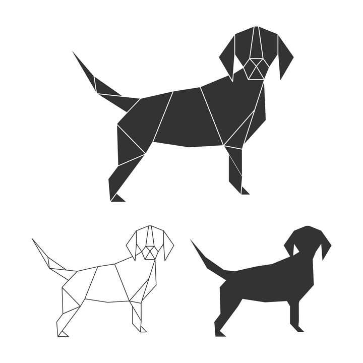 简洁黑白色折纸风格小狗图片免抠素材