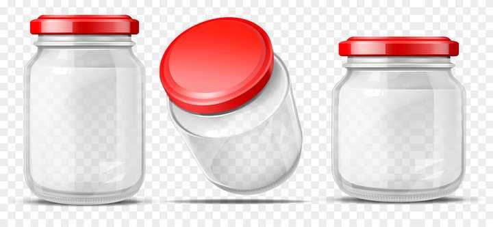 3款红盖子的玻璃瓶罐头瓶图片免抠素材