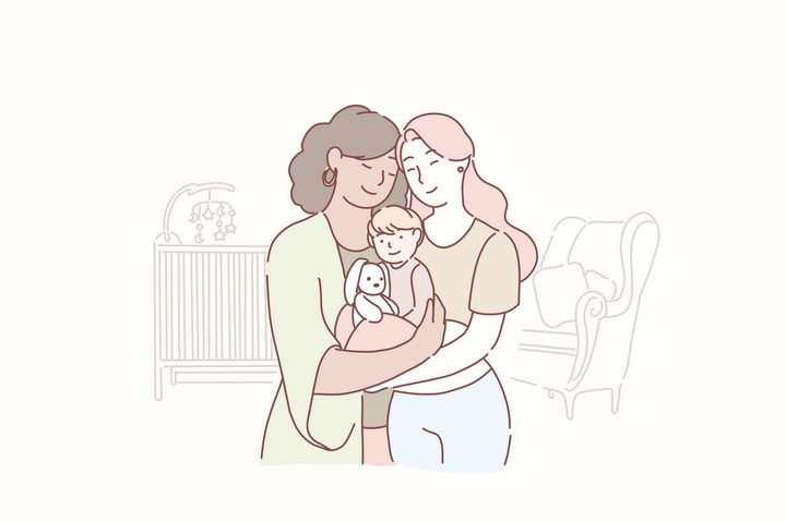 三世同堂奶奶妈妈和女儿手绘插画图片免抠素材