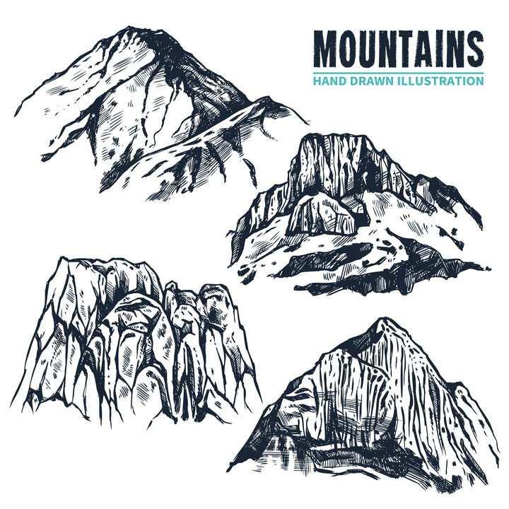 4款手绘插画风格高山山脉山峰图片免抠素材