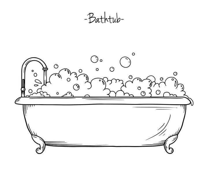 手绘浴缸简笔画图片免抠素材