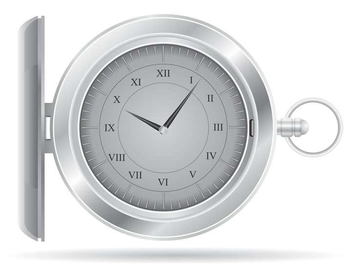 银色复古风格的怀表手表免抠矢量图片素材