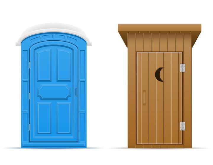 两款不同风格的移动厕所公共厕所免抠矢量图片素材