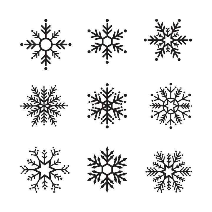 9款黑色线条风格的雪花图案图片免抠矢量素材