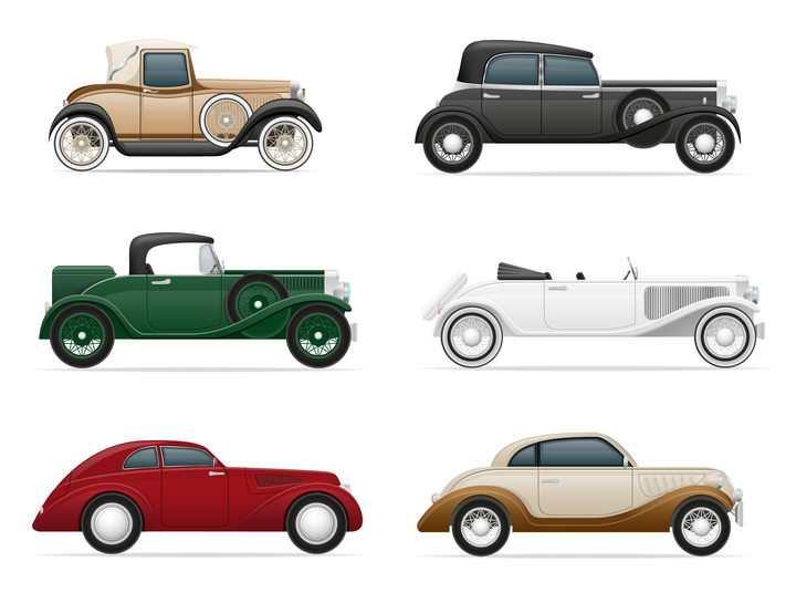 6款老爷车汽车侧视图免抠矢量图片素材