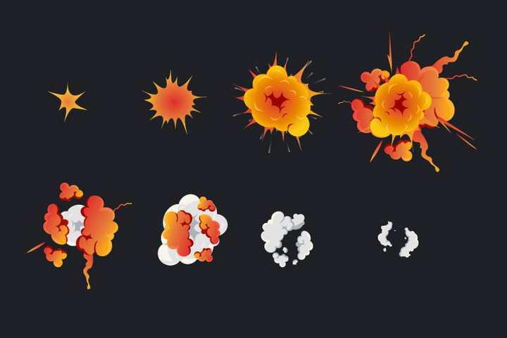 8款冒着白烟的漫画爆炸效果图片免抠素材