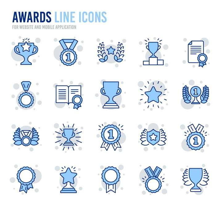 20款蓝色线性奖杯奖牌线条icon图标图片免抠素材