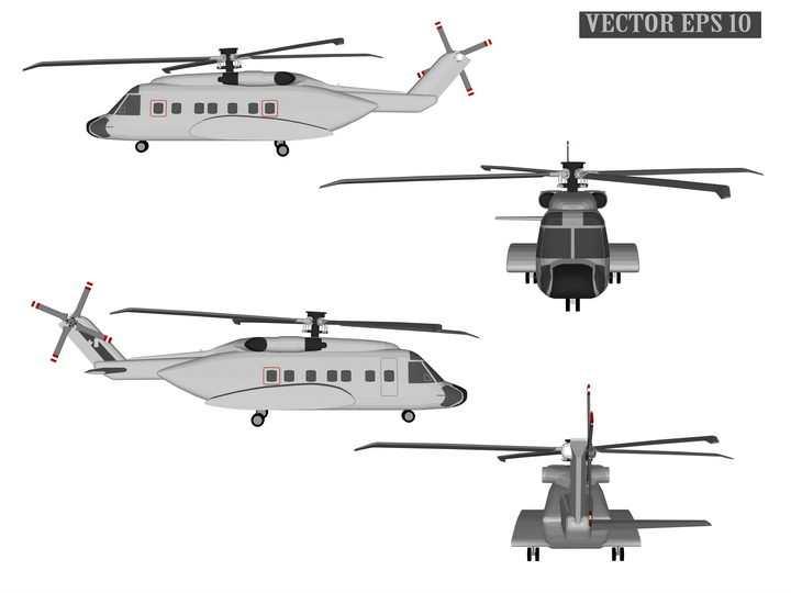 四个角度的直升飞机运输机图片免抠素材