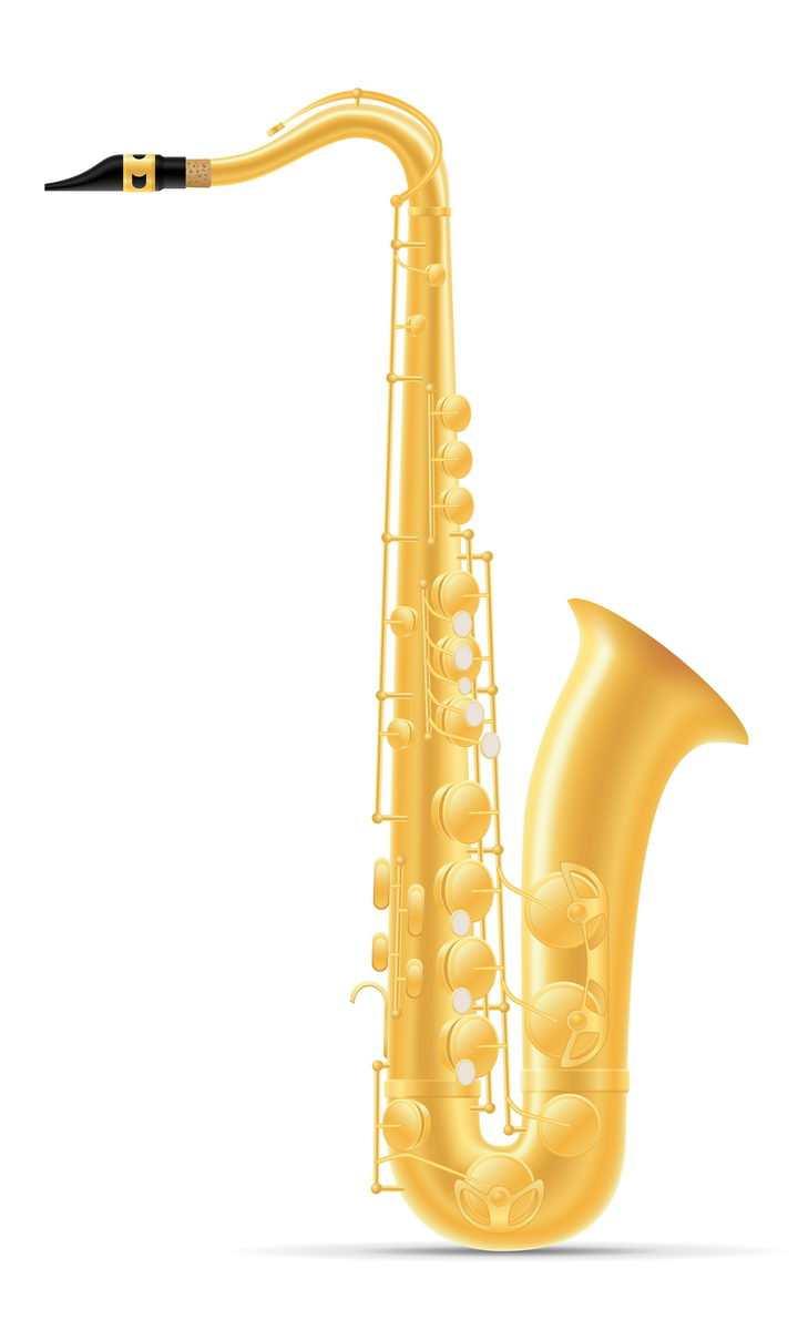 金色萨克斯音乐乐器免抠矢量图片素材