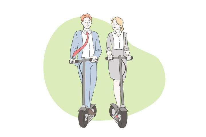 手绘彩色上色线条漫画风格正在玩滑板电动车的情侣图片免抠素材