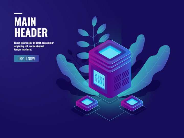 2.5D风格紫色超级计算机云计算服务器IT行业免抠矢量图片素材