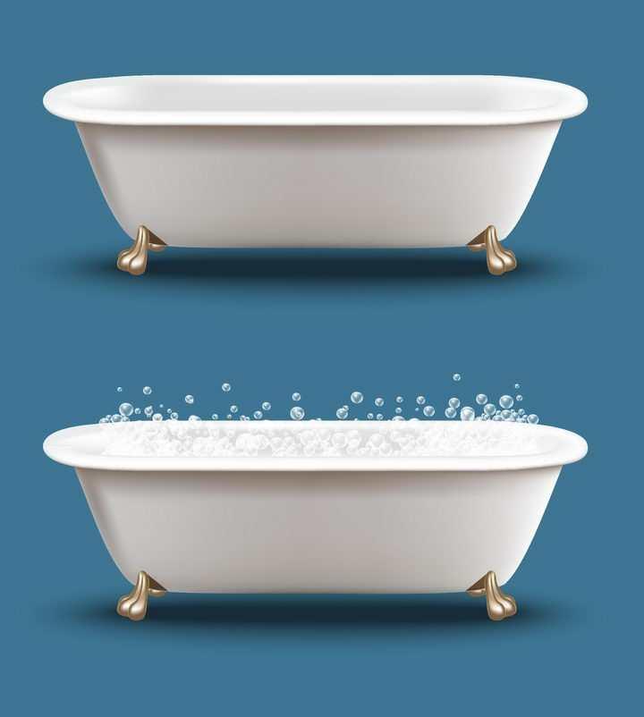 逼真放满泡泡的浴缸图片免抠素材