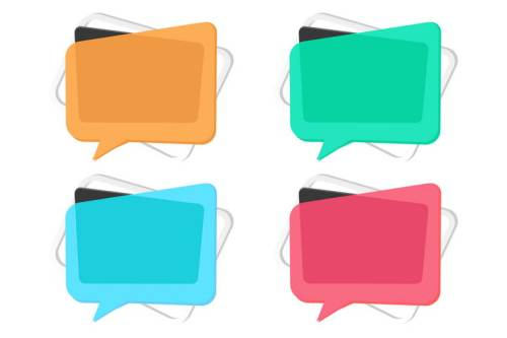 4款彩色叠加风格的文本框对话框图片免抠矢量素材