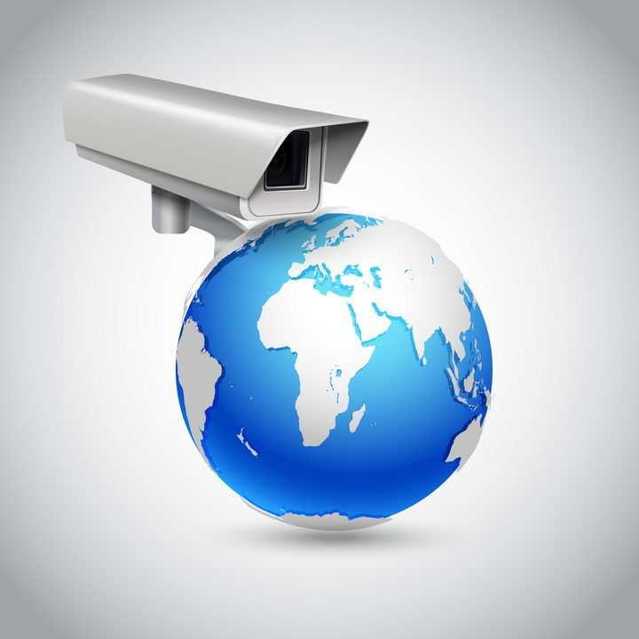 创意蓝色地球上的监控摄像头免抠矢量图片素材