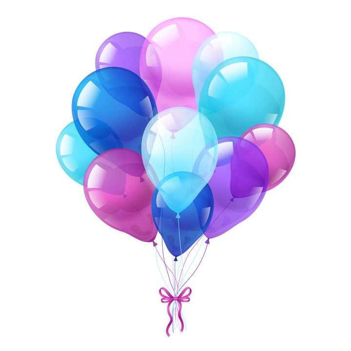 绑在一起的红色紫色和蓝色气球图片免抠素材