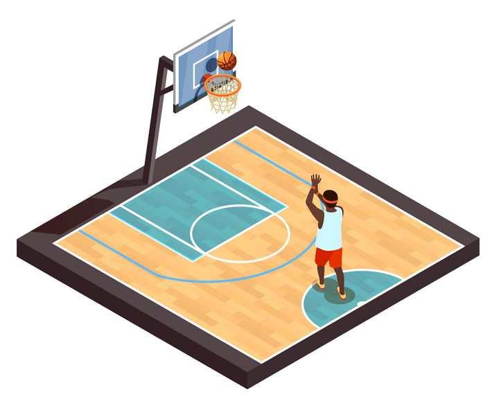2.5D风格正在投篮的篮球运动员图片免抠素材