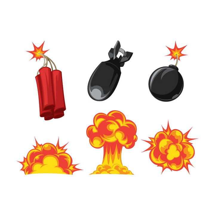 各种漫画风格炸弹和爆炸效果蘑菇云图片免抠素材