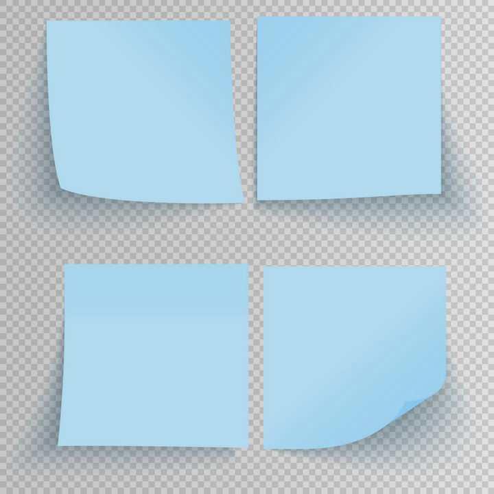 4款带阴影蓝色便签纸标签纸贴纸免抠矢量图片素材