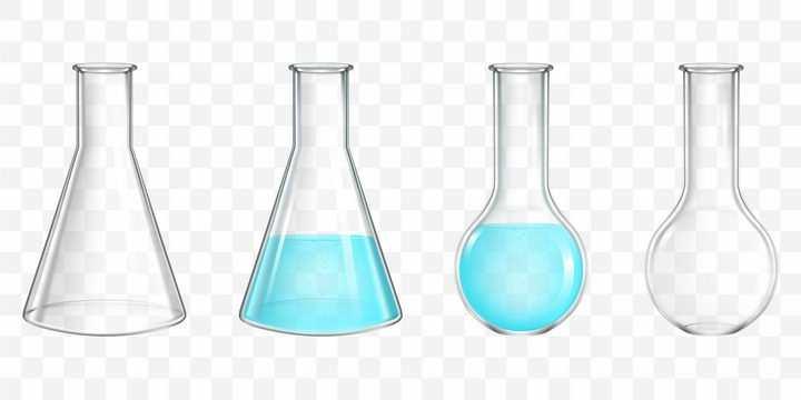 4款平底烧瓶锥形烧瓶圆底烧瓶化学实验用品图片免抠素材