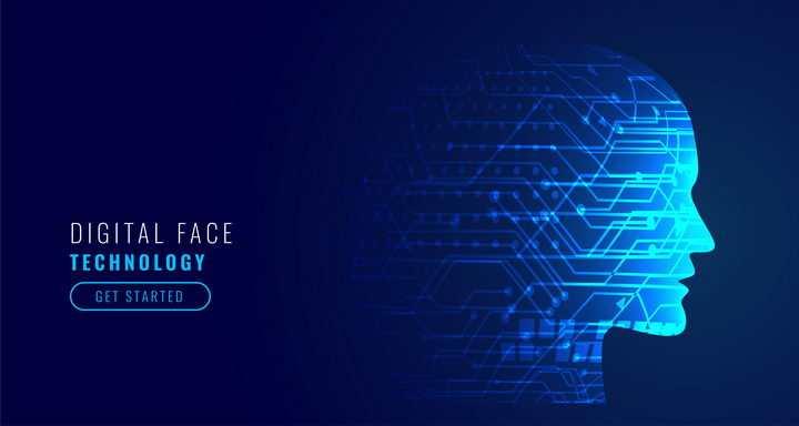 创意抽象蓝色发光线条组成的人体脸部侧视图深色背景图
